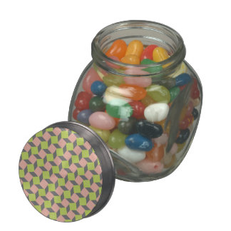 Pink Green Abstract Geometric Ikat Square Pattern Glass Candy Jars