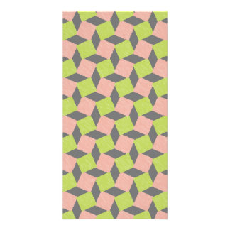 Pink Green Abstract Geometric Ikat Square Pattern Photo Card Template
