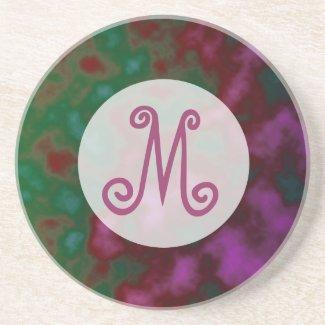 pink green abstract monogram coaster