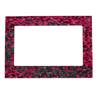 Pink Green Abstract Pattern Magnetic Picture Frame