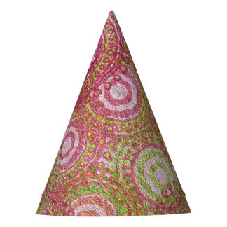 Pink green abstract retro party hat