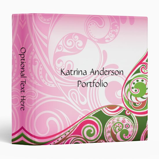 Pink Green Abstract Swirls Avery Binder