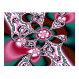 Pink & Green Amoeba Fractal Postcard