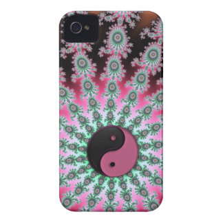 Pink Green and Black Fractal Yin-Yang iPhone 4 Case-Mate Case