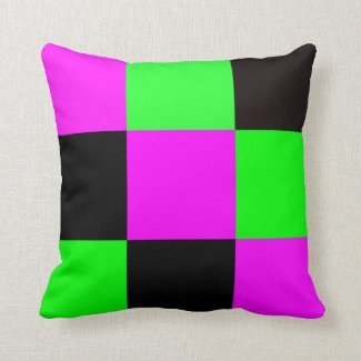 Pink, Green and Black Tiles Throw Pillow