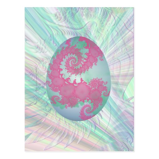 Pink Green and Blue Painted Egg Postcard