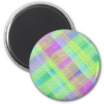 Pink, Green, and Blue Plaid Fridge Magnet