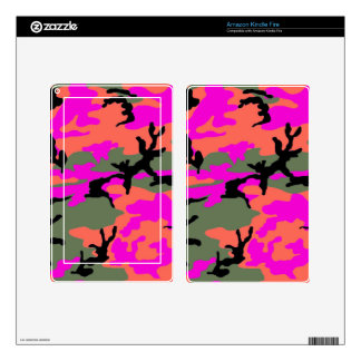 Pink Green and Orange Camouflage Decals For Kindle Fire