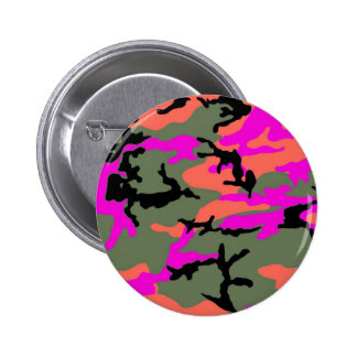 Pink Green and Orange Camouflage Pinback Button