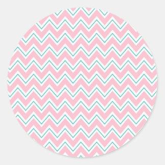 Pink, Green, and White Chevron Classic Round Sticker