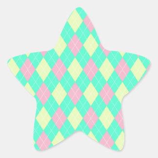 Pink Green and Yellow Argyle Print Star Sticker