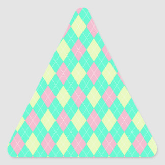 Pink Green and Yellow Argyle Print Triangle Sticker