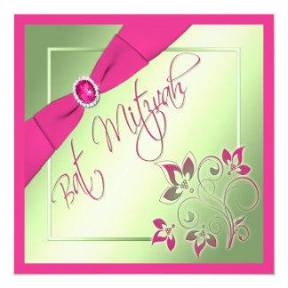 Pink, Green, and Yellow Bat Mitzvah Invitation