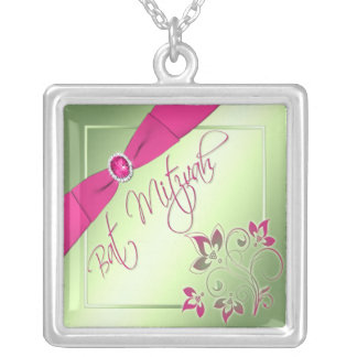 Pink, Green, and Yellow Bat Mitzvah Necklace