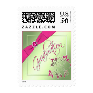 Pink, Green, and Yellow Graduation Postage