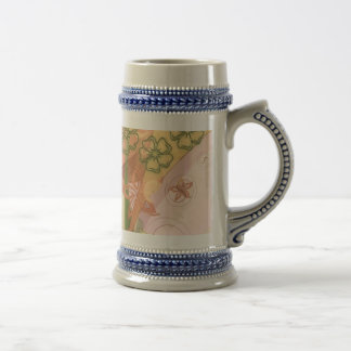 Pink Green and Yellow Pattern Featuring Flowers Beer Stein