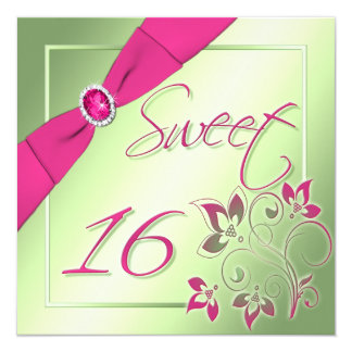Pink, Green, and Yellow Sweet Sixteen Invitation