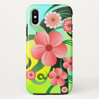 Pink Green and Yellow Tropical Hibiscus Floral iPhone X Case