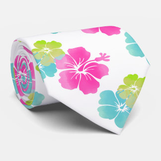 Pink/Green/Aqua Blue Hibiscus/Hawaiian Floral Neck Tie