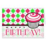Pink & Green Argyle Birthday Card - Pink Cupcake