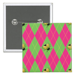 Pink & Green Argyle Ladybug 2 Inch Square Button