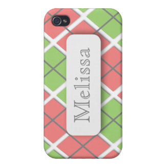 Pink Green Argyle Personalized iPhone 4 Case