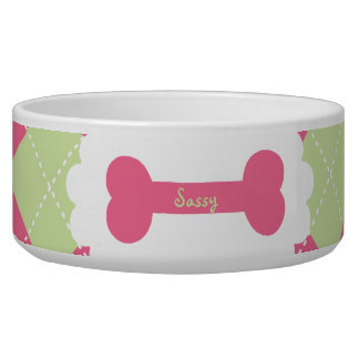 Pink & Green Argyle Personalized Pet Bowl