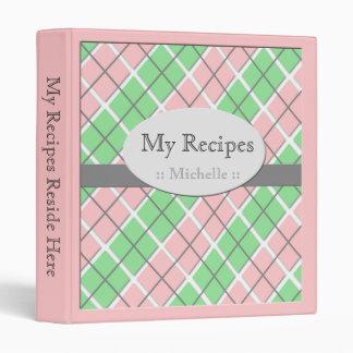 Pink & Green Argyle Recipe Binder