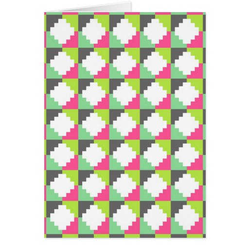 Pink Green Aztec Andes Tribal Block Pattern Greeting Cards