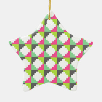 Pink Green Aztec Andes Tribal Block Pattern Ceramic Ornament
