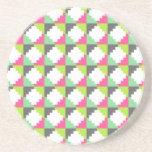 Pink Green Aztec Andes Tribal Block Pattern Beverage Coaster