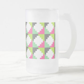 Pink Green Aztec Andes Tribal Block Pattern Frosted Glass Beer Mug