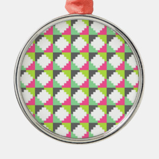 Pink Green Aztec Andes Tribal Block Pattern Metal Ornament