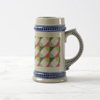 Pink Green Aztec Andes Tribal Block Pattern Beer Stein