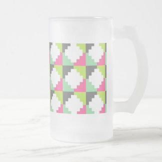 Pink Green Aztec Andes Tribal Block Pattern Coffee Mugs