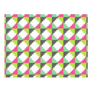Pink Green Aztec Andes Tribal Block Pattern Postcard
