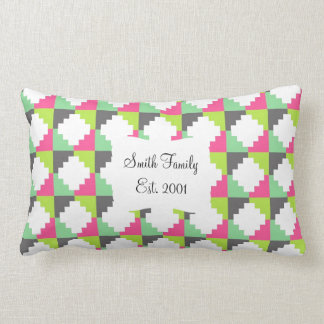 Pink Green Aztec Andes Tribal Block Pattern Throw Pillow