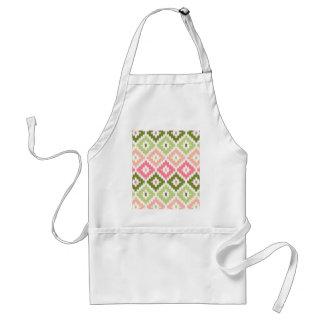 Pink Green Aztec Tribal Print Ikat Diamond Pattern Adult Apron
