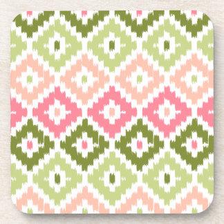 Pink Green Aztec Tribal Print Ikat Diamond Pattern Drink Coaster