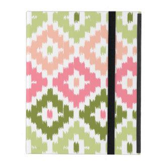 Pink Green Aztec Tribal Print Ikat Diamond Pattern iPad Folio Case