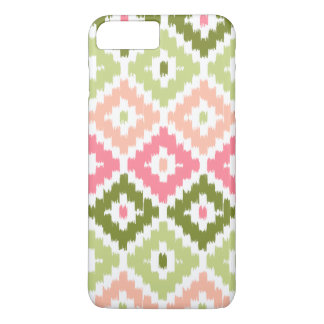 Pink Green Aztec Tribal Print Ikat Diamond Pattern iPhone 8 Plus/7 Plus Case