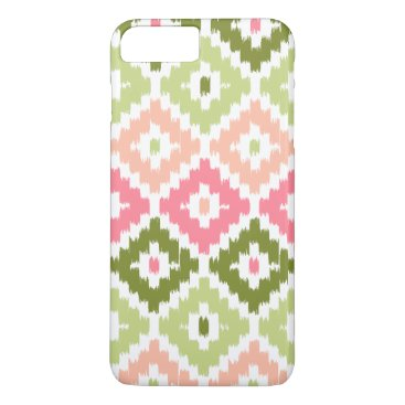 Aztec Themed Pink Green Aztec Tribal Print Ikat Diamond Pattern iPhone 8 Plus/7 Plus Case