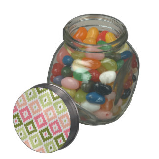 Pink Green Aztec Tribal Print Ikat Diamond Pattern Jelly Belly Candy Jars