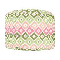 Pink Green Aztec Tribal Print Ikat Diamond Pattern Pouf