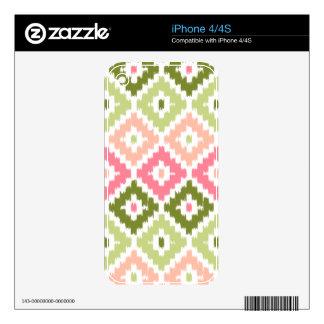 Pink Green Aztec Tribal Print Ikat Diamond Pattern Skin For The iPhone 4