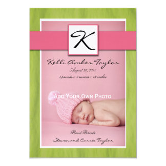 Pink Green Baby Girl Birth Announcement