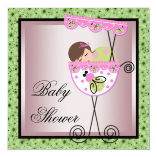 "Pink Green Baby Girl Shower Invitations 5.25"" Square Invitation Card"