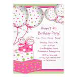 Pink Green Balloons 4th Birthday Party Fourth Personalized Invites