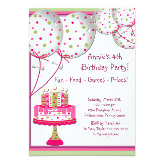 Pink Green Balloons Cake Girls 4th Birthday Party 5x7 Paper Invitation Card