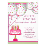 Pink Green Balloons Cake Girls 4th Birthday Party Custom Announcements